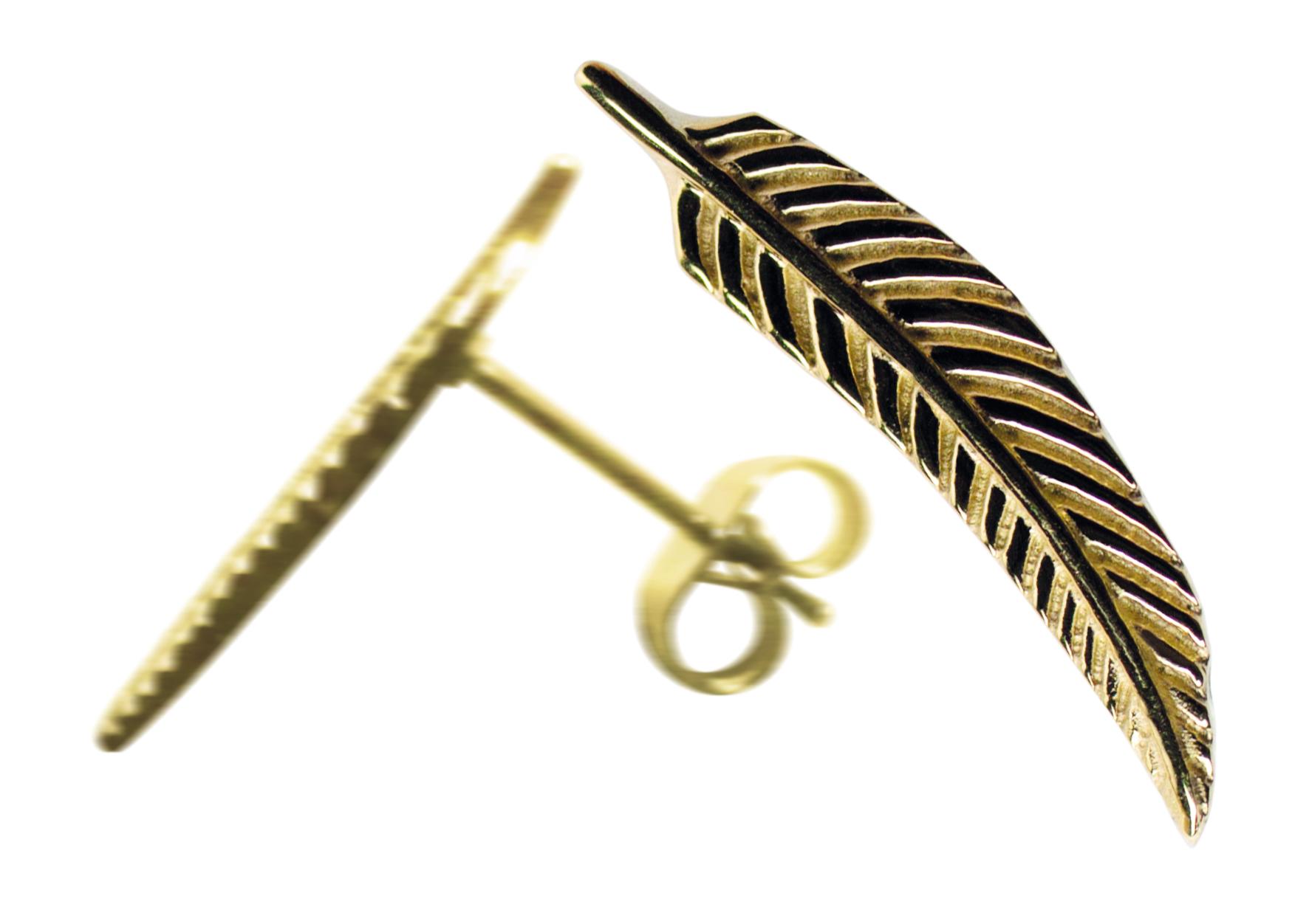 2 Traumfänger Feder Ohrring (Ohrstecker) gold