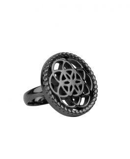 Traumfänger Ring schwarz (Blume)