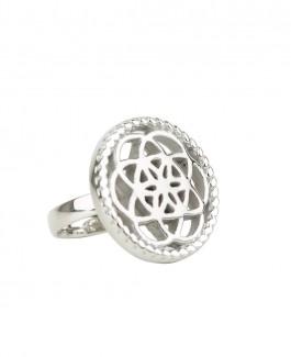 Traumfänger Ring stahl (Blume)