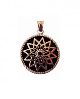 Traumfänger Anhänger (Stern) rosé-gold / Epoxy schwarz