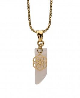 Traumfänger Anhänger Rosenquarz mit Blume gold