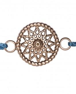 Traumfänger Armband rosé-gold (Stern, Stoff blau)