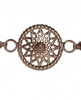 Traumfänger Armband rosé-gold (Stern, Stoff braun)