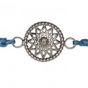 Traumfänger Armband stahl (Stern, Stoff blau)