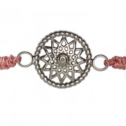 Traumfänger Armband stahl (Stern, Stoff rosa)