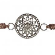 Traumfänger Armband stahl (Stern, Stoff braun)