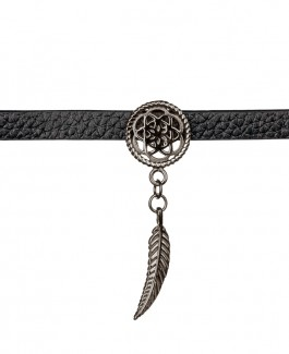 Traumfänger Lederhalsband (Chokerkette) Blume mit Feder schwarz