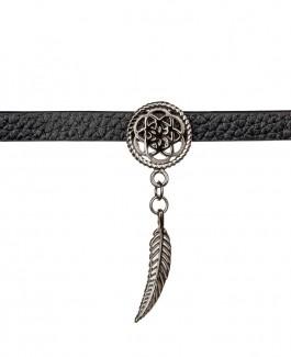 Traumfänger Lederhalsband (Chokerkette) Blume mit Feder grau