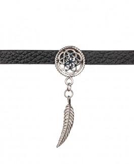 Traumfänger Lederhalsband (Chokerkette) Blume mit Feder silber