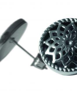 2 Traumfänger Ohrring (Ohrstecker) grau (Stern)